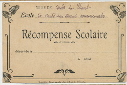Condé S Escaut Ecole Communale Recompense Scolaire Image Les Halles Ypres Ieper Belgique - Diplômes & Bulletins Scolaires