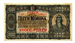 "Hongrie Hungary Ungarn 1.000 Korona 1923 """" 8 Filler """" Overprint # 3 - Hungary"