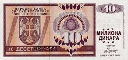 BOSNIA - BOSNIEN UND HERZEGOWINA,  10 Million Dinara ND1992  UNC *PNL, Ovpt. On 10 Dinara 1992  RARE! - Bosnien-Herzegowina