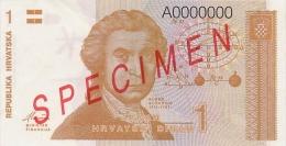 CROATIA -  KROATIEN:  1 Dinar, 1991  UNC  *P-16s   *SPECIMEN*   RARE ! - Kroatien