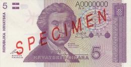 CROATIA -  KROATIEN:  5 Dinara, 1991  UNC  *P-17s   *SPECIMEN*   RARE ! - Kroatien