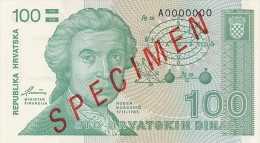 CROATIA -  KROATIEN:  100 Dinara, 1991  UNC  *P-20s   *SPECIMEN*   RARE ! - Kroatien