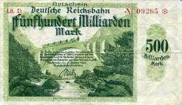 Notgeld Reichsbahn 500  Milliarden Mark  Karlsruhe - [ 3] 1918-1933 : Weimar Republic