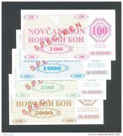 BOSNIA - BOSNIE HERZEGOVINE, 100, 500,1000 & 5000 Dinara 1992 UNC *SPECIMEN* No. 000000,Handstamp:FILIJALA SARAJEVO - Bosnie-Herzegovine