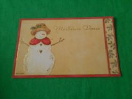 Carte  De Bonne  Année  Meilleurs Voeux Representant Un Bonhomme De Neige - Saisons & Fêtes