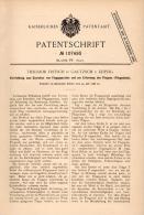 Original Patentschrift - T. Fritsch In Gautzsch B. Leipzig , 1898 , Apparat Zur Flugapparat - Erprobung , Flugschule !!! - Aviación