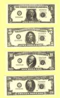Série De 4 Billets Factices US DOLLARS (neuf-UNC) - Etats-Unis