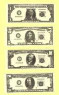 Série De 4 Billets Factices US DOLLARS (neuf-UNC) - Stati Uniti