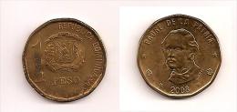 1 Peso – République Dominicaine – 2008 – Juan Pablo Duarte – Laiton – Etat TTB – KM 80.2 - Dominicana