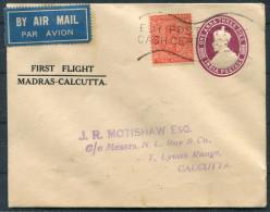 1934 India Madras - Calcutta First Flight Stationery Cover
