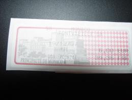 MONACO FONTVIEILLE ETIQUETTE TIMBRE LABEL DISTRIBUTEUR ATM LISA - Monaco