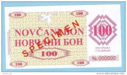 BOSNIA - BOSNIA Y HERZEGOVINA, 100 Dinara 1992 UNC SPECIMEN No. 000000. - Bosnia Y Herzegovina