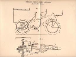 Original Patentschrift - F. R. Simms In London , 1898 , Frame For Motorcycle , Trike , Bike !!! - Motor Bikes