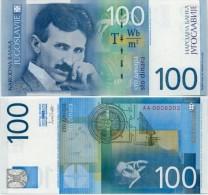 YUGOSLAVIA - JUGOSLAWIEN:  100 Dinara 2000  UNC  P-156  TESLA  *Last YU Banknote ! - Yugoslavia