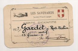 CARTE D'IDENTITE LES SAVOYARDS DE TUNISIE 1922 / SOCIETE PHILANTROPIQUE SIEGE A TUNIS CP7153 - Documentos Históricos