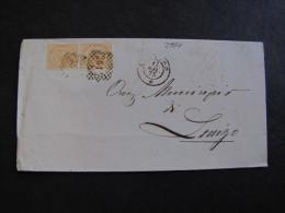 """ITALIA Regno-1866- """"T 17 Torino"""" C. 10 Coppia LEGNAGO>LONIGO (descrizione) - 1861-78 Vittorio Emanuele II"""