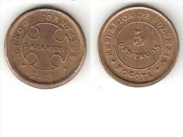 *Colombia Bogota Lepra  Coinage 5 Centavo 1901 B Km L2  Xf Look !!!!!! - Colombia