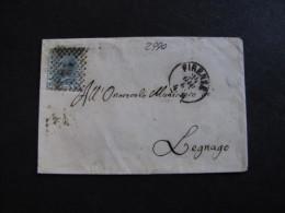 """ITALIA Regno-1867- """"L 26 Londra"""" C. 20 FIRENZE>LEGNAGO (descrizione) - 1861-78 Vittorio Emanuele II"""
