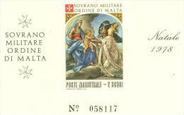 SMOM LOTTO 5 FOGLIETTI NATALE 1978 UNIFICATO BF12 NUOVO MNH (VERGINE E BAMBINO - Sovrano Militare Ordine Di Malta