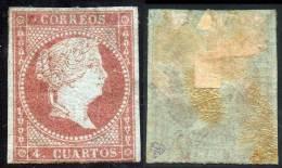 SPAIN 1855 QUEEN ISABELLA II SC#37 MH HR PART GUM CV$350  (2D013) - 1850-68 Royaume: Isabelle II