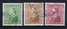 Iceland 1937 , Mi 187 - 189  Used - 1918-1944 Autonoom Bestuur