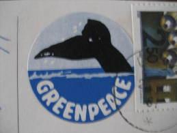 GREENPEACE Whale Whales Nature Protection Environment Ecology Poster Stamp Label Vignette Viñeta Sweden Card - Umweltschutz Und Klima