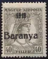 "YUGOSLAVIA - UNGARN - CROATIA - BARANYA -  ZITA  40 Fil.  I Typ Ovpt - Short. ""1919""  - **MNH  - 1919 - Ext 280 Pcs - AT - Nuovi"