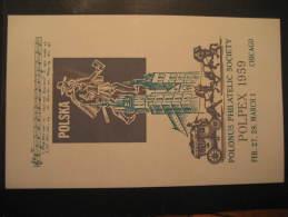 Chicago 1959 Stage Coach Horse Polpex USA Block Music Poland Poster Stamp Label Vignette Viñeta Cinderella - Musik