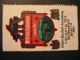 Leipzig 1913 Piano Germany Music Poster Stamp Label Vignette Viñeta Cinderella - Music