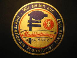 Frankfurt 1957 Instrument Messe Germany Music Poster Stamp Label Vignette Viñeta Cinderella - Music