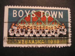 Nebraska 1959 Chorus Boys Town USA Music Poster Stamp Label Vignette Viñeta Cinderella - Music