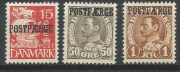 Danemark 1936 N° 236-239-240 Neufs** Surchargés Postfaerge (bateau-poste) - 1913-47 (Christian X)