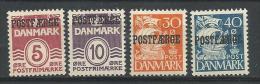 Danemark 1938 à 1943 N° 264A/264D Neufs** Surchargé Postfaerge (bateau-poste) - 1913-47 (Christian X)