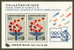 1988 South Korea Stamps S/s OLYMPHILEX'88 Olympic Games Tiger Taekwondo Tennis Soccer Volleyball Shooting - Shooting (Weapons)