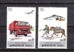 Corée Du Sud YT 1201/2 * : Service Postal Coréen , Transport à Cheval Ou En Camion - 1983 - Corea Del Sur
