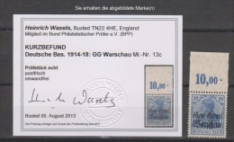 Dt.Post Polen,13c,xx,Oberrand Platte Befund BPP  (3640) - Besetzungen 1914-18