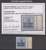 Dt.Post Polen,13c,xx,Rand Rechts Durchgezähnt,(Mi.unbekannt) Befund BPP,leichte Bräunung Im Rand  (3640) - Besetzungen 1914-18