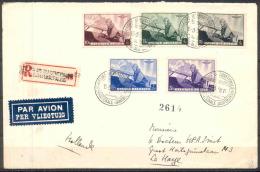 1938 - COB N° 466 à 470 (SERIE COMPLETE) SUR  LETTRE RECOMMANDEE AVION - PREMIER JOUR D´EMISSION - Belgique