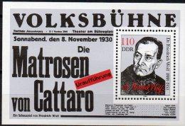 Arzt Dr.Wolf 1988 DDR Block 96 ** 2€ Dramatiker Matrose Von Cattaro Blocchi Bf M/s History Bloc Theatre Sheet Of Germany - [6] Democratic Republic