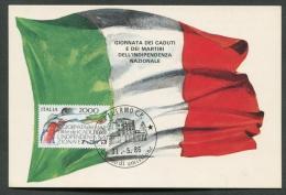 ITALIA - FDC - CARTOLINA MAXIMUM CARD 1986 - CADUTI E MARTIRI DELL'INDIPENDENZA - 479 - Maximum Cards