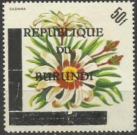 BURUNDI - 1967 FLOWERS REPUBLIQUE OVERPRINT 50f MH *    SG 253 - Burundi