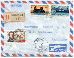 NOUVELLE-CALEDONIE LETTRE RECOMMANDEE PAR AVION DEPART NOUMEA 17-7-1954 ARRIVEE PARIS 30-7-1954 - Luftpost