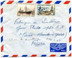 ST PIERRE ET MIQUELON LETTRE PAR AVION DEPART SAINT PIERRE ET MIQUELON 30-12-1961 ARRIVEE ST CLAUDE 9-1-1962 - St.Pierre Et Miquelon