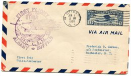 LETTRE  AVEC CAHET VIOLET FIRST FLIGHT JUNE 1 1928 UTICA  AIR MAIL C.A.M 20 ALBANY-BUFFALO +  FIRST TRIP UTICA-ROCHESTER - 1c. 1918-1940 Covers
