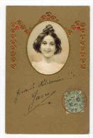 """FANTAISIE FEMMES FRAU LADY PRENOM GAUFREE :  """" M Comme Marie  """" - Portrait Femme Chignon Et Alphabet En Relief - Nomi"""