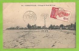GABON LIBREVILLE VILLAGE ET PONT M´PYRA CARTOLINA FORMATO PICCOLO VIAGGIATA NEL 1912 - Gabon