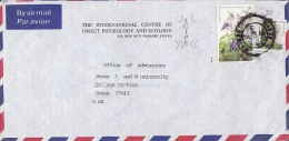 Kenya Airmail Par Avion INTERNATIONAL CENTRE OF INSECT PHYSIOLOGY AND ECOLOGY, NAIROBI 1988 Cover 20 Sh Flower - Kenia (1963-...)