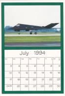 July 1994 Limited Editon Calendar Cardm AirShow '94 Lockheed F-117 Stealth Bomber - Astronomy