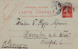 00435 Enteropostal De Francia A Alemania 1912 - Enteros Postales