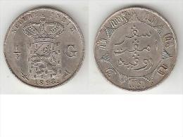 *Netherlands India 1/4 Gulden 1898  Km 305  Xf+ !!!!! - Indes Néerlandaises
